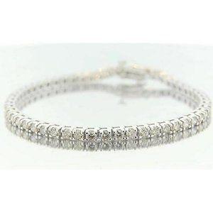 Round Diamond Bracelet Prong Set 5.40 Carats White